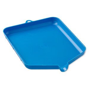 funnel tray, plastic, blue, 6 x 1/2 x 8 inches with hang tab. sold individually.