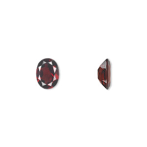 gem, almandite garnet (natural), 8x6mm faceted oval, a grade, mohs hardness 7 to 7-1/2. sold individually.