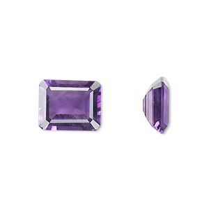 gem, amethyst (natural), light to medium, 11x9mm faceted emerald-cut, a grade, mohs hardness 7. sold individually.