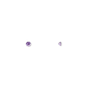 gem, amethyst (natural), light to medium, 2mm faceted round, a grade, mohs hardness 7. sold per pkg of 8.