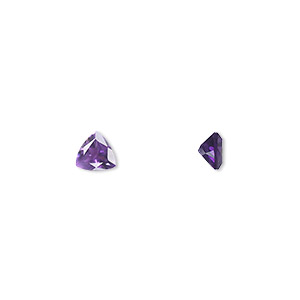 gem, amethyst (natural), light to medium, 5x5mm faceted triangle, a grade, mohs hardness 7. sold per pkg of 2.