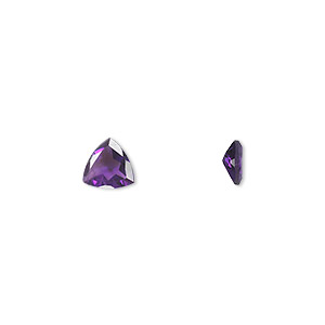 gem, amethyst (natural), light to medium, 6x6mm faceted triangle, a grade, mohs hardness 7. sold individually.
