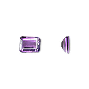 gem, amethyst (natural), light to medium, 9x7mm faceted emerald-cut, a grade, mohs hardness 7. sold individually.