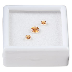 gem, citrine (heated), (2) 4mm and (1) 6mm faceted round, a grade, mohs hardness 7. sold per pkg of 3.