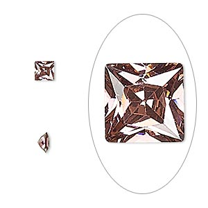 gem, cubic zirconia, alexandrite purple, 4mm faceted square, mohs hardness 8-1/2. sold per pkg of 2.