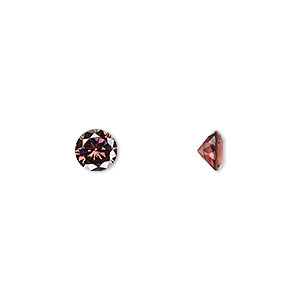 gem, cubic zirconia, alexandrite purple, 6mm faceted round, mohs hardness 8-1/2. sold per pkg of 2.