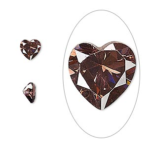 gem, cubic zirconia, alexandrite purple, 6x6mm faceted heart, mohs hardness 8-1/2. sold per pkg of 2.