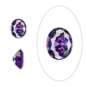 gem, cubic zirconia, amethyst purple, 10x8mm faceted oval, mohs hardness 8-1/2. sold individually.