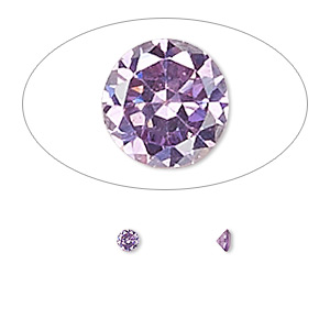 gem, cubic zirconia, amethyst purple, 3mm faceted round, mohs hardness 8-1/2. sold per pkg of 5.