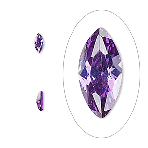 gem, cubic zirconia, amethyst purple, 6x3mm faceted marquise, mohs hardness 8-1/2. sold per pkg of 5.