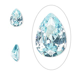 gem, cubic zirconia, aqua blue, 10x7mm faceted pear, mohs hardness 8-1/2. sold individually.