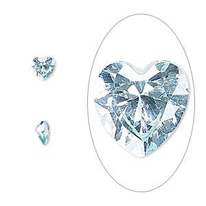 gem, cubic zirconia, aqua blue, 5x5mm faceted heart, mohs hardness 8-1/2. sold per pkg of 2.