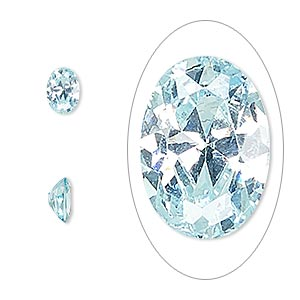 gem, cubic zirconia, aqua blue, 7x5mm faceted oval, mohs hardness 8-1/2. sold per pkg of 2.