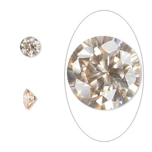 gem, cubic zirconia, champagne, 6mm faceted round, mohs hardness 8-1/2. sold per pkg of 2.
