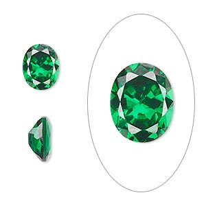 gem, cubic zirconia, emerald green, 10x8mm faceted oval, mohs hardness 8-1/2. sold individually.