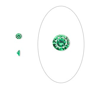 gem, cubic zirconia, emerald green, 3mm faceted round, mohs hardness 8-1/2. sold per pkg of 5.