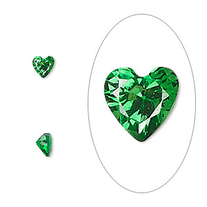 gem, cubic zirconia, emerald green, 5x5mm faceted heart, mohs hardness 8-1/2. sold per pkg of 2.