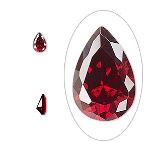 gem, cubic zirconia, garnet red, 6x4mm faceted pear, mohs hardness 8-1/2. sold per pkg of 2.