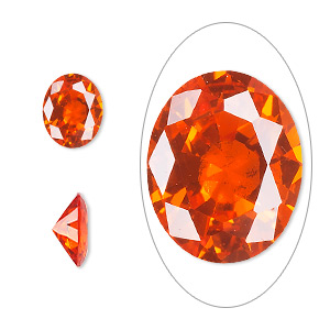 gem, cubic zirconia, orange, 10x8mm faceted oval, mohs hardness 8-1/2. sold individually.