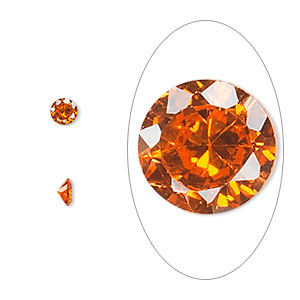 gem, cubic zirconia, orange, 4mm faceted round, mohs hardness 8-1/2. sold per pkg of 5.