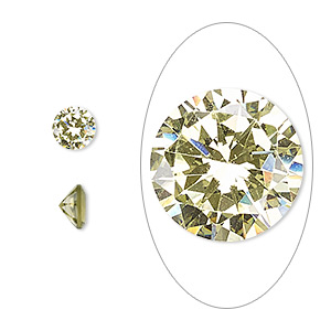 gem, cubic zirconia, peridot green, 6mm faceted round, mohs hardness 8-1/2. sold per pkg of 2.