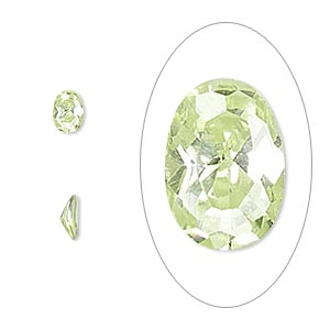 gem, cubic zirconia, peridot green, 6x4mm faceted oval, mohs hardness 8-1/2. sold per pkg of 2.