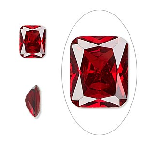 gem, cubic zirconia, ruby red, 10x8mm faceted emerald-cut, mohs hardness 8-1/2. sold individually.