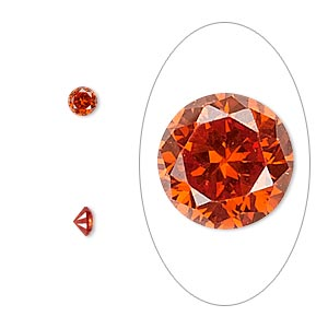 gem, cubic zirconia, ruby red, 4mm faceted round, mohs hardness 8-1/2. sold per pkg of 5.