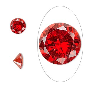 gem, cubic zirconia, ruby red, 8mm faceted round, mohs hardness 8-1/2. sold individually.