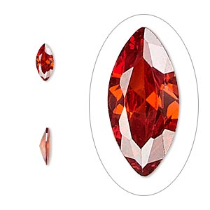 gem, cubic zirconia, ruby red, 8x4mm faceted marquise, mohs hardness 8-1/2. sold per pkg of 2.
