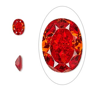 gem, cubic zirconia, ruby red, 8x6mm faceted oval, mohs hardness 8-1/2. sold per pkg of 2.