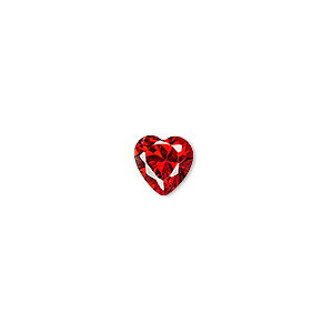 gem, cubic zirconia, ruby red, 8x8mm faceted heart, mohs hardness 8-1/2. sold individually.