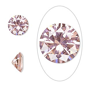 gem, cubic zirconia, sapphire rose, 10mm faceted round, mohs hardness 8-1/2. sold individually.