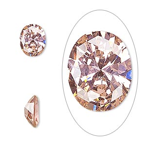 gem, cubic zirconia, sapphire rose, 10x8mm faceted oval, mohs hardness 8-1/2. sold individually.