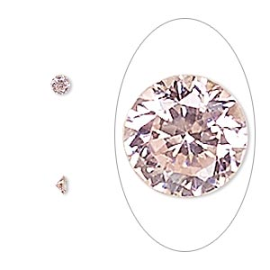 gem, cubic zirconia, sapphire rose, 3mm faceted round, mohs hardness 8-1/2. sold per pkg of 5.