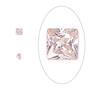 gem, cubic zirconia, sapphire rose, 3x3mm faceted square, mohs hardness 8-1/2. sold per pkg of 5.