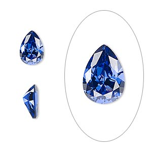 gem, cubic zirconia, spinel blue, 10x7mm faceted pear, mohs hardness 8-1/2. sold individually.