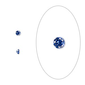 gem, cubic zirconia, spinel blue, 2.5mm faceted round, mohs hardness 8-1/2. sold per pkg of 10.