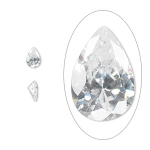 gem, cubic zirconia, spinel white, 6x4mm faceted pear, mohs hardness 8-1/2. sold per pkg of 2.