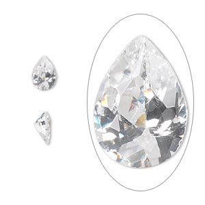 gem, cubic zirconia, spinel white, 7x5mm faceted pear, mohs hardness 8-1/2. sold per pkg of 2.