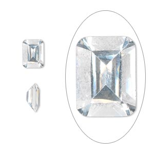 gem, cubic zirconia, spinel white, 8x6mm faceted emerald-cut, mohs hardness 8-1/2. sold per pkg of 2.