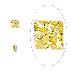 gem, cubic zirconia, topaz gold, 4x4mm faceted square, mohs hardness 8-1/2. sold per pkg of 2.