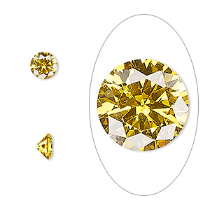 gem, cubic zirconia, topaz gold, 6mm faceted round, mohs hardness 8-1/2. sold per pkg of 2.