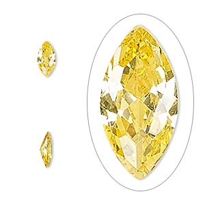gem, cubic zirconia, topaz gold, 8x4mm faceted marquise, mohs hardness 8-1/2. sold per pkg of 2.