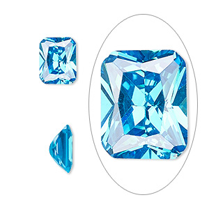gem, cubic zirconia, zircon blue, 10x8mm faceted emerald-cut, mohs hardness 8-1/2. sold individually.