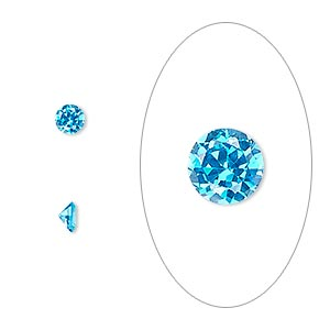 gem, cubic zirconia, zircon blue, 4mm faceted round, mohs hardness 8-1/2. sold per pkg of 5.
