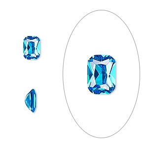 gem, cubic zirconia, zircon blue, 7x5mm faceted emerald-cut, mohs hardness 8-1/2. sold per pkg of 2.