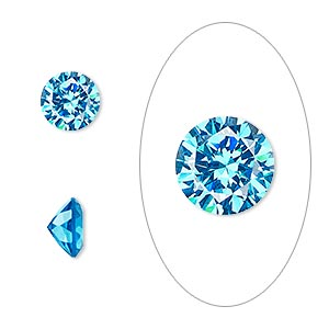 gem, cubic zirconia, zircon blue, 8mm faceted round, mohs hardness 8-1/2. sold individually.