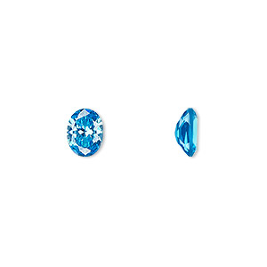 gem, cubic zirconia, zircon blue, 8x6mm faceted oval, mohs hardness 8-1/2. sold per pkg of 2.