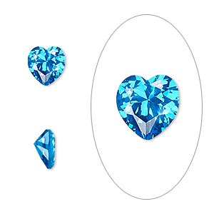 gem, cubic zirconia, zircon blue, 8x8mm faceted heart, mohs hardness 8-1/2. sold individually.